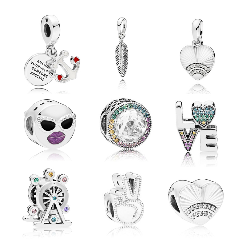 2018 Summer Style New Arrival Sterling Silver Charms Beads Charms Fit pandora bracelet silver 925 original Luxury Jewelry