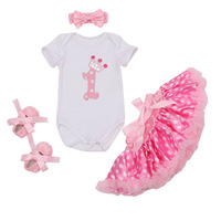 4PCs Per Set Newborn Baby Girls 1st Birthday Dress Polka Dots Skirts Headband Retro Rose Flower