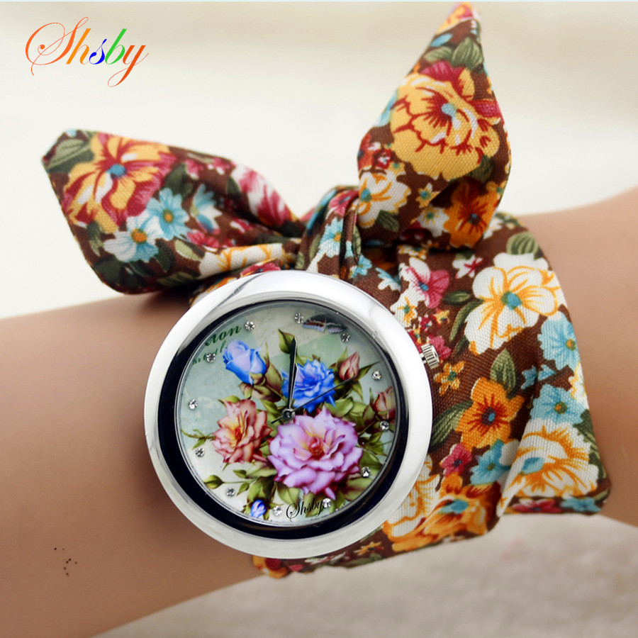 shsby design Ladies flower cloth wristwatch fashion women dress watch high quality fabric watch sweet girls