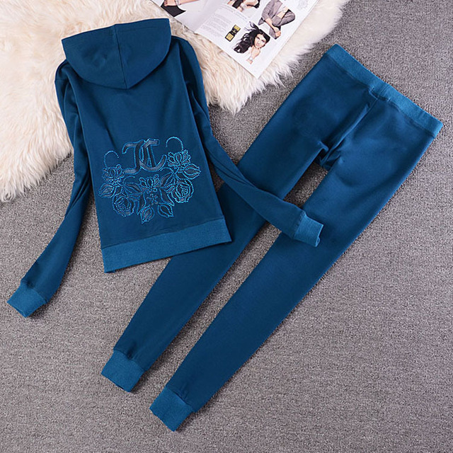 Fashion Casual Velvet Fabric Women Tracksuits Velour Suit Hoodies Tops and Sweat Pants Set S-XXL 4