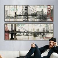 Brooklyn bridge New York Cầu In Banner canvas prints vải hình ảnh đối với living phòng Retro gỗ grain tường hình ảnh