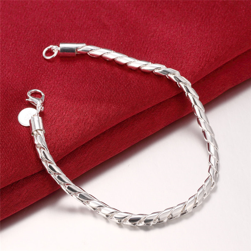 Top Quality/ Free Shipping 3mm Twist Chains Silver Bracelet 8 inch / Factory Price/ Birthday Gift / 925 Jewelry Wholesale bracelet