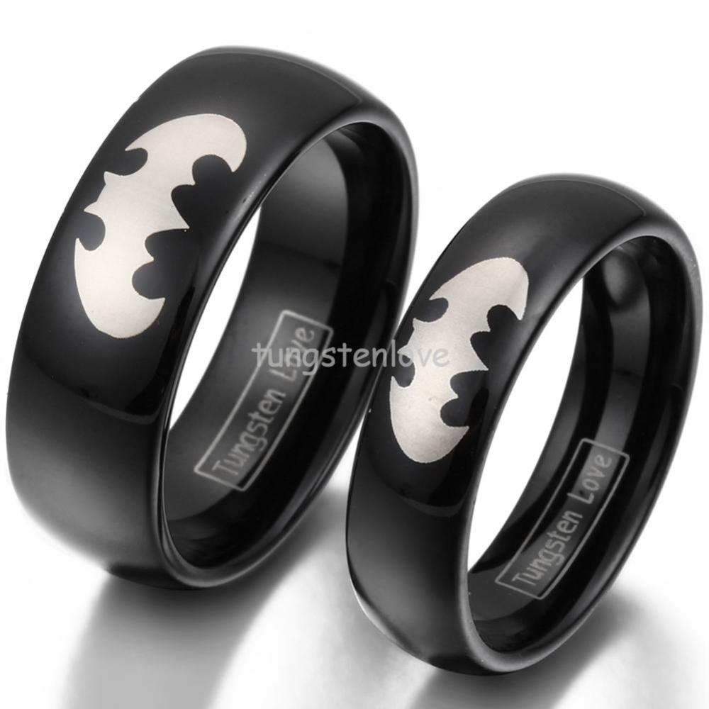Hot black tungsten laser etched batman promise rings for Batman wedding rings for men