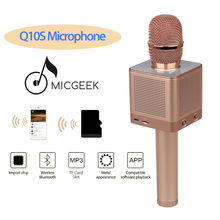 DHL Delivery! 5pcs/lot MicGeek Q10S Handheld Wi-fi Bluetooth Karaoke Microphone Altering Voice Wi-fi Microphone Speaker