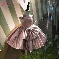 Tozlu Pembe Çiçek Kız Elbise Büyük Yay Ile Güzel Prenses Havai Fişeklere Boncuklu Puf vestidos de primera comunion pageant ZF080