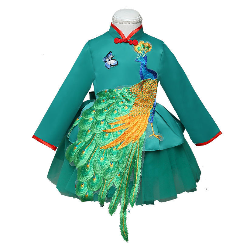 2018 autumn green embrodiery peacock girls dress year gift chinese qipao for young girl kid vestido children clothes top quality