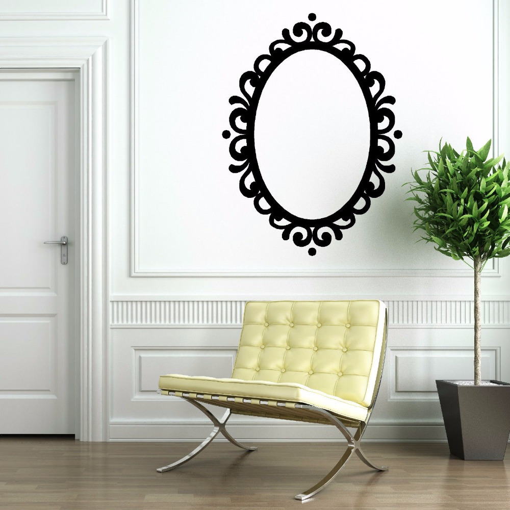 Mirror Vinyl Sticker Removable Picture Frame Oval Mirror ...