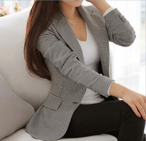 Spring Women Plaid Blazers And Jackets Suit Ladies Long Sleeve Work Wear Blazer Plus Size Casual Female Outerwear Office Coat