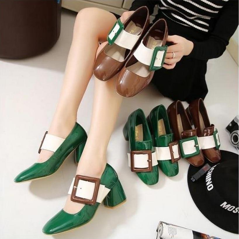 ФОТО zapatos de mujer moda New women shoes taco alto sapato feminino salto alto luxo European Buckle Female Women Sandals Thick Heel