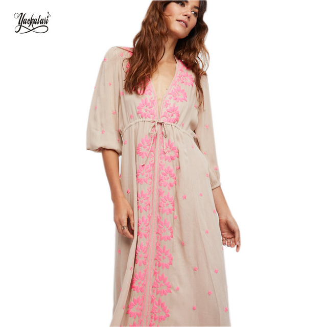 Comprobador de precios 2018 vestido Maxi más tamaño bohemio de las ...