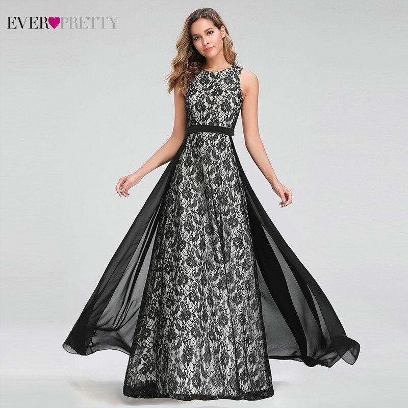 Ever Pretty Black   Evening     Dresses   Long A-Line O-Neck Sleeveless Elegant Lace Formal Party   Dresses   EZ07692BK Robe De Soiree 2019