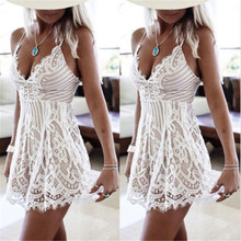 2018 Fashion Summer Deep V White Lace Dress Women Sundress Sexy Hollow Out Beach