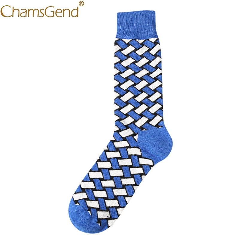 Chamsgend Newly Design Men Socks Color Block Semi-High Male Crew Cotton Sock 80306