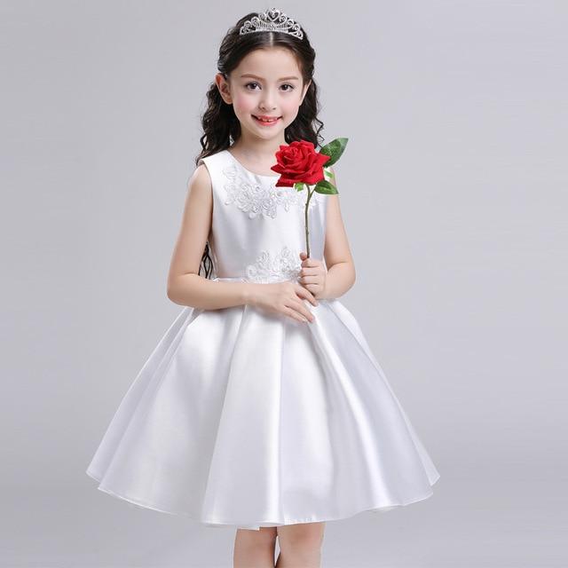 Exquisite Elegant Gorgeous Satin Flower Kids S Princess Dress Children Christening Evening Birthday Party Dresses