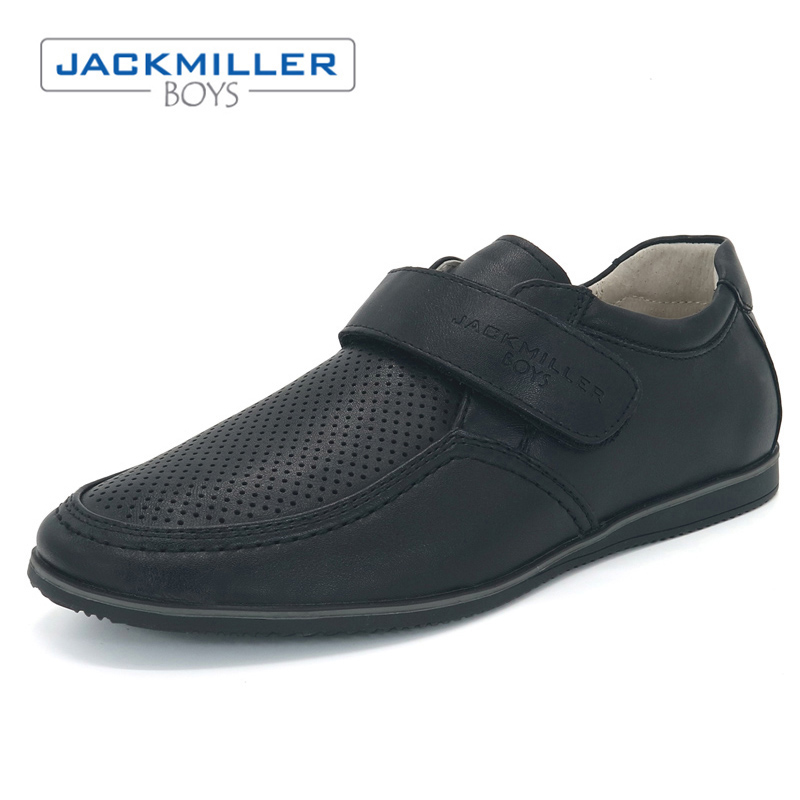 Jackmillerboys School Students Shoes uniform PU Leather breathable children Shoes For Boys hook loop black flats size 31-36
