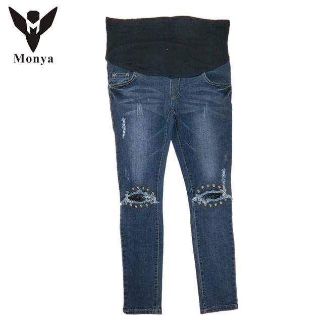 Monya Calça Jeans Roupa de Maternidade (M-XXL) 2016 Pedicure de alta qualidade roupas para mulheres grávidas Quatro temporada de algodão jeans stretch