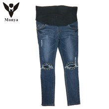 Monya Jeans Maternity Clothes (M-XXL) 2016 Pedicure high quality clothing for pregnant women Four season cotton stretch jeans