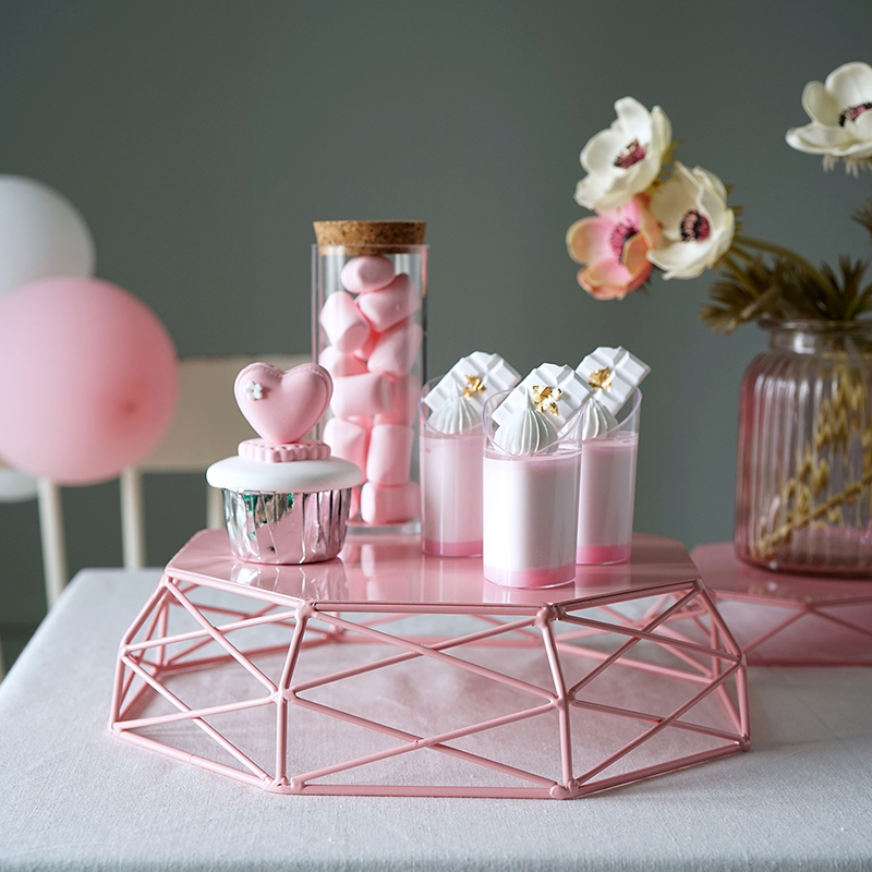 SWEETGO Geometric cake stand Macaroons color cake tools for dessert table party decoration fruit basket home storage rack