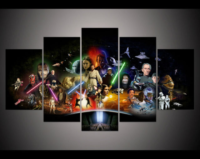 Canvas print painting 5 Panel large HD Printed art star wars movie modern home decor Wall art Pictures For Living Room frame art