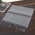 100% hombres de la cachemira bufandas largas y estrechas de color gris oscuro a rayas clásica de negocio de la moda 3 corea del estilo del color 40x200 cm