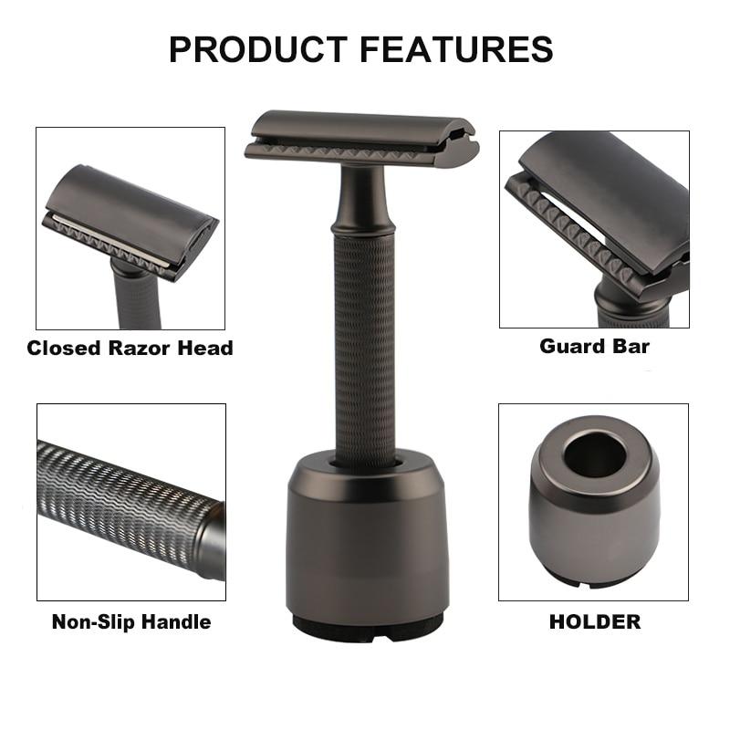HAWARD Safety Razor Double Edge Manual Razor Classic Men's Shaving Razor Metal Handle 10 Blade Hair Removal Shaver 1