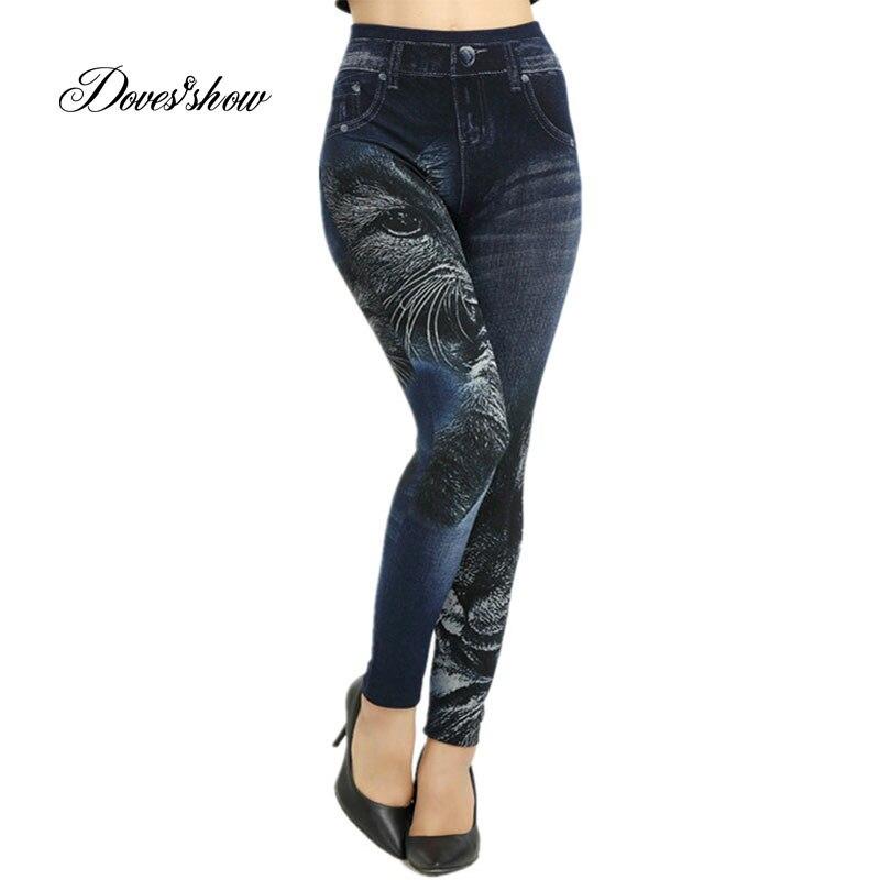 Slim Women Seamless Leggings Faux Denim Jeans Spring Summer Cat Printing Leggings Casual Ankle Length Pencil Pants Thin Fleece