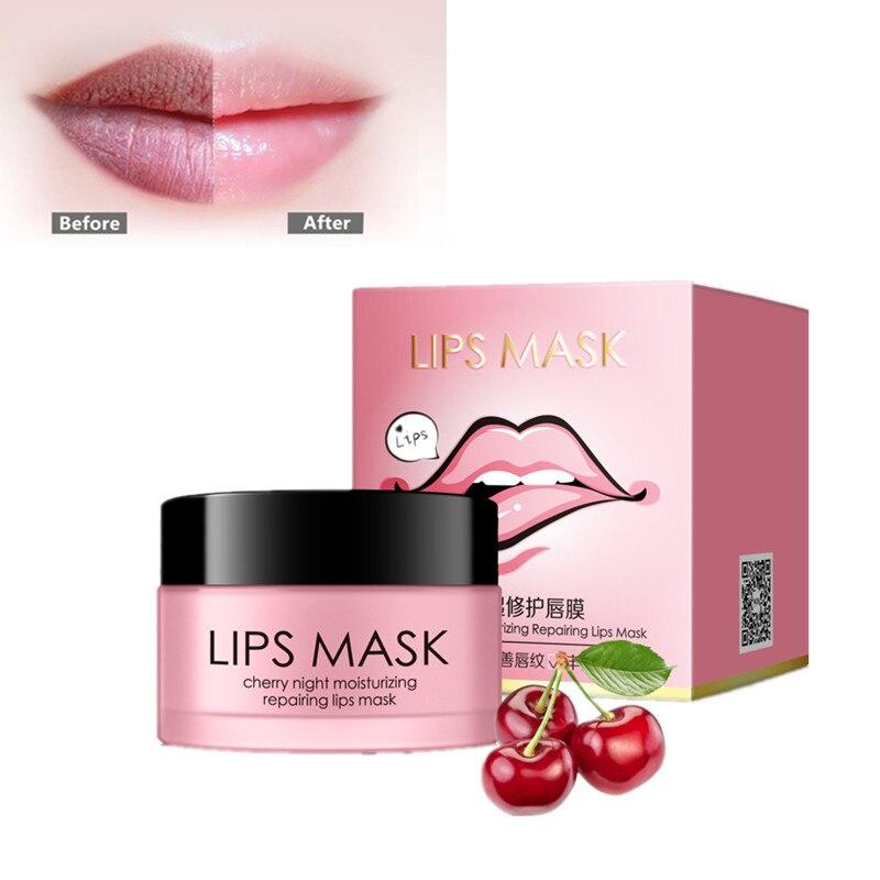 Cherries night lip mask Lip care moisturize skin hydrating prevent dry desquamate reduce lip wrinkles fade lip lines exfoliate mariposa en plata anillo