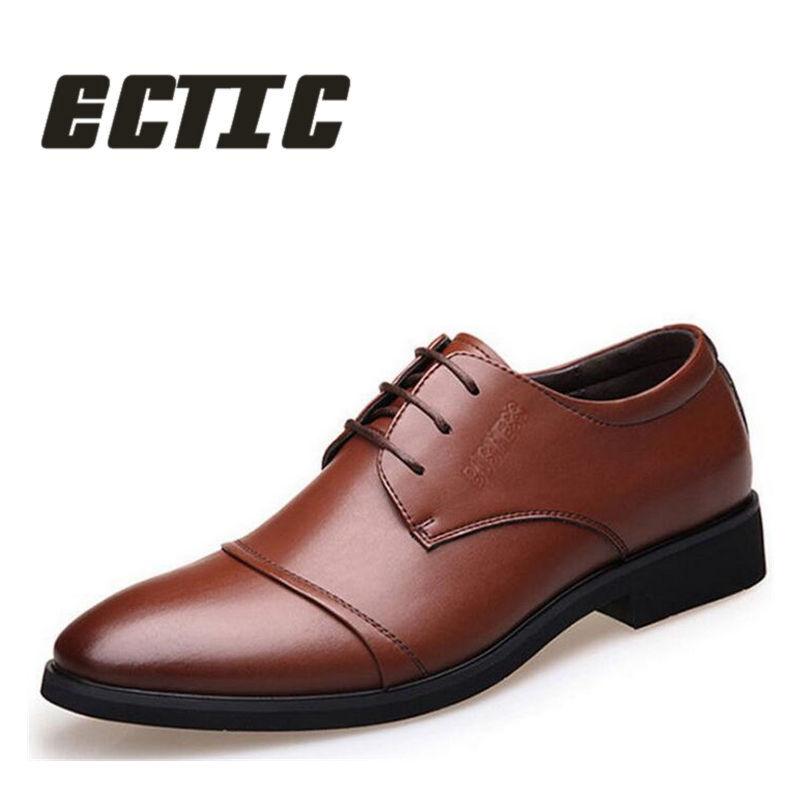 ECTIC 2018 Nauji brandžios vyrų suknelės odiniai batai Mada Vyrai - Vyriški batai
