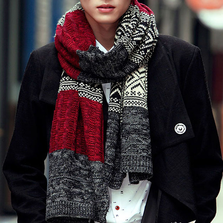 11.11 Scarfs Men Winter New Male Winter Multicolor Patchwork Vintage Men Knitted Scarf Winter Mens Scarves