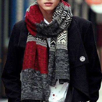 11.11 scarfs men winter New Male Winter Multicolor Patchwork Vintage Men Knitted Scarf Winter Mens Scarves