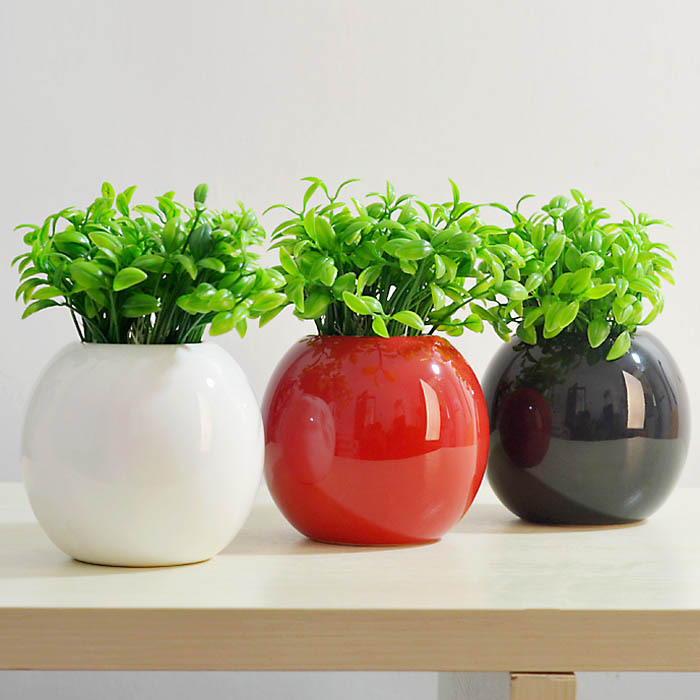 Freeshipping Round Vase Ceramic Vases Flower Pot Whiteblackred