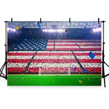 Vinyl Photography Background Football Field Soccer Theme Party American Flag Champion Children Backgrounds for Photo Studio