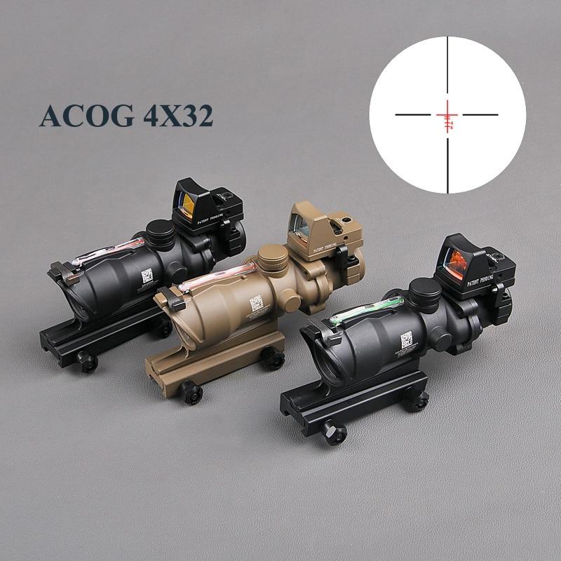 Bestsight ACOG 4X32 Réel Réticule Fiber Optique Portée Rouge Lumineux Sight Avec RMR Mirco Rouge Dot Sight 20mm Ferroviaire Chasse Scopes