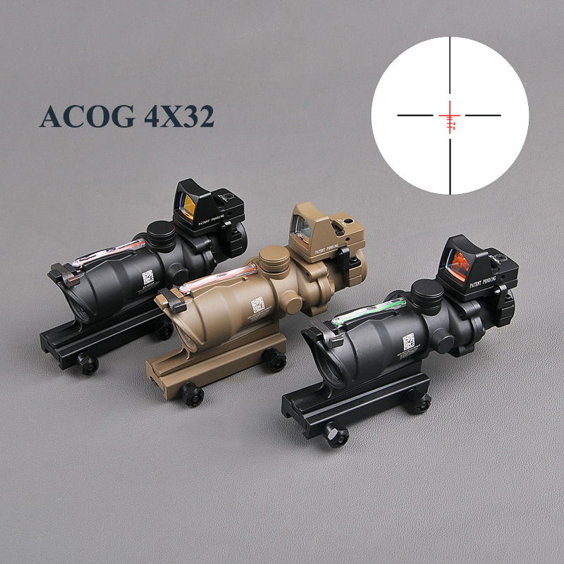 Tactical ACOG 4X32 Real Reticle Fiber Optic Scope Red Illuminated Sight With RMR Mirco Red Dot Sight 20mm Rail Hunting Scopes trijicon acog 4x32 red dot sight scope tactical hunting scopes real green red fiber riflescope optics for rifles