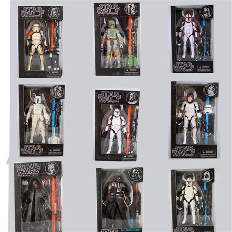 где купить Star Wars The Black Series Kylo Ren Stormtrooper Phasma Darth Maul Darth Vader Hab Solo PVC Action Figure Toy 14 Types with box по лучшей цене