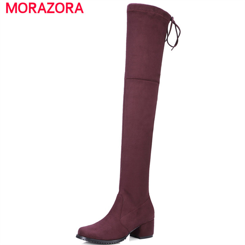 MORAZORA Over the knee boots for women fashion Faux Suede stretch long boots med heels shoes 4.5cm womens boots big size 34-43 memunia big size 34 43 over the knee boots for women fashion shoes woman party pu platform boots zip high heels boots female