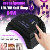 Nail Lamp Light Gel Polish Nail Dryer 64W 32 LED UV Rechargeable Cordless LCD Display Cordless & Rechargeable US Plug Timers