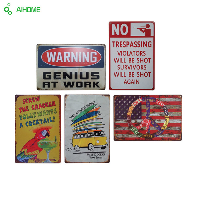 AIHOME Warning Metal Tin Signs Signage Home Decor Wall Art Painting Plaque  Vintage Decorative Metal Sign