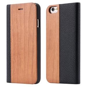 Image 5 - Funda de madera de bambú para iPhone, Funda de cuero PU Mini para iPhone 12, 11 Pro, 11, 12, XR, X, XS, Max, 7, 8 Plus