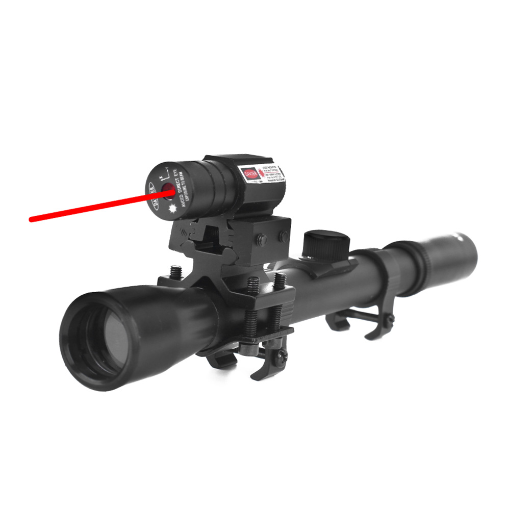Image 2 - LUGER 4x20 Rifle Optics Scope Tactical Crossbow Riflescope With Red Dot Laser Sight 11mm Rail Mounts for 22 Caliber Guns Hunting-in Riflescopes from Sports & Entertainment