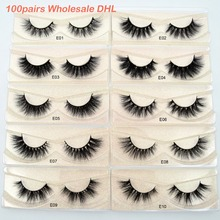 100 คู่ขายส่งการจัดส่ง DHL ฟรี Visofree 3D Mink Lashes Made Full Strip Mink Eyelashes โหดร้ายฟรีปลอมขนตา