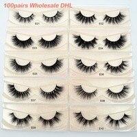 100 pairs Wholesale DHL Free Shipping Visofree 3D Mink Lashes Hand Made Full Strip Mink Eyelashes Cruelty free False Eyelashes