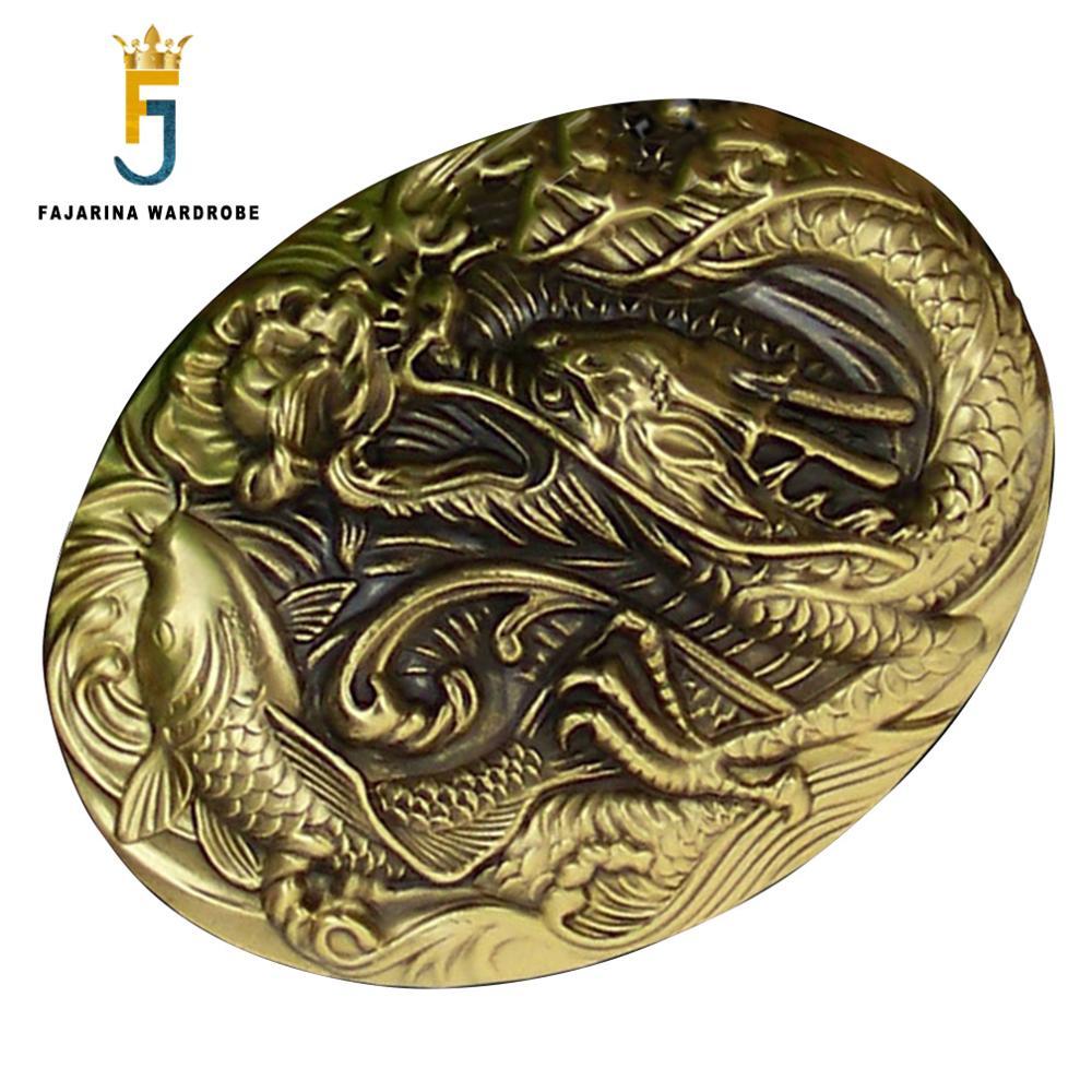FAJARINA Men Designer Chinese Dragon & Fish Pattern Slide Styles Buckles Brass Belt Buckle Only For 3.6-3.9cm Wide Belts BCK012