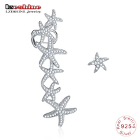 LZESHINE New 925 Sterling Silver Starfish Clip Earrings Micro Pave AAA Cubic Zircon Irregular Ear Cuff