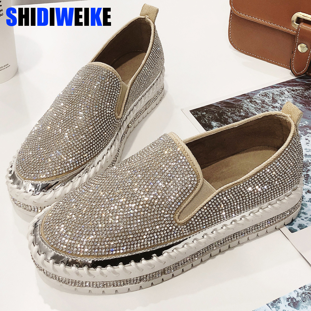 Women Sneakers Slip On Fashion Platform Flats For Lady Spring Autumn Summer Loafers Rhinestone BlingBling Casual Shoes G229