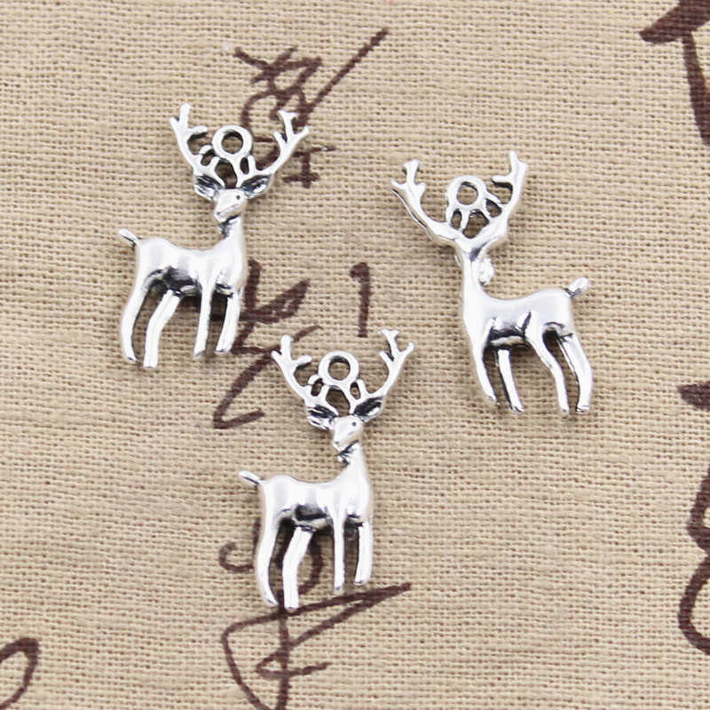 15pcs Charms Christmas deer sika 27x18mm Antique Silver Plated Pendants Making DIY Handmade Tibetan Silver Jewelry