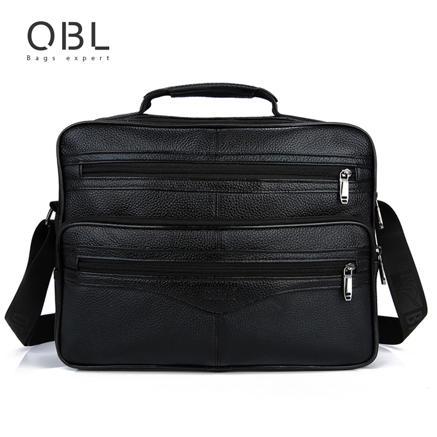 QiBoLu Cow Genuine Leather Handbags Men Tote Crossbody Shoulder Laptop Bag Sacoche Homme Bolso Hombre Bolsa Masculina MBA60 cow genuine leather messenger bags men casual travel business crossbody shoulder bag for man sacoche homme bolsa masculina