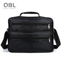 QiBoLu Cow Genuine Leather Handbags Men Tote Crossbody Shoulder Laptop Bag Sacoche Homme Bolso Hombre Bolsa