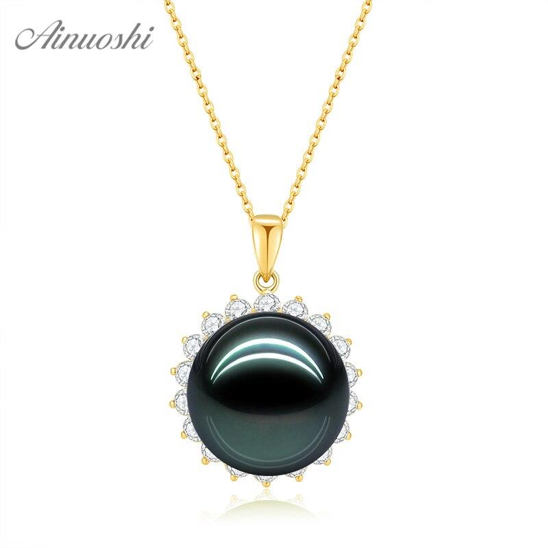 AINUOSHI 18K Gold Natural Black Tahiti Pearl Pendant 18K White Gold/Yellow Gold/Rose Gold Diamond Pendant 12mm Separate Pendant