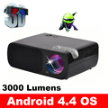 WZATCO Android 3000 lúmenes HDMI USB Vídeo Portátil Mini HD 1080 P Proyector Proyector de cine en casa 3D LED LCD TV Beamer proektor